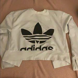 Addidas crop sweater white